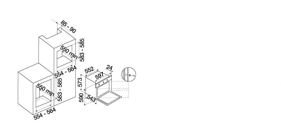 Disegno tecnico New England F605 NERO  Cod. SFN54BKCN