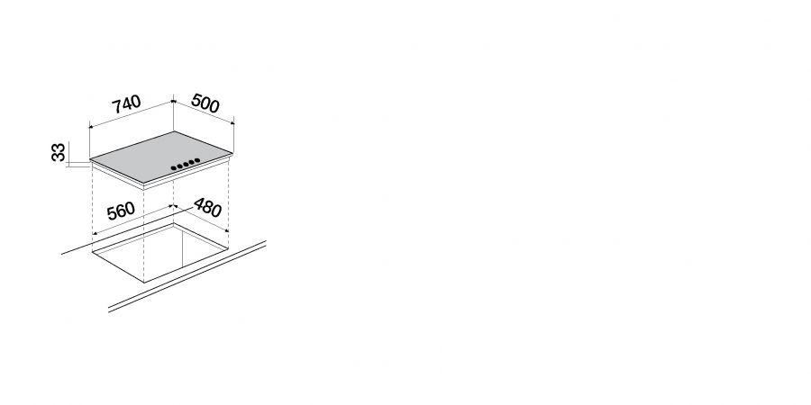 Disegno tecnico Primus PC75 AVG ANTRACITE  Cod. STP855H51