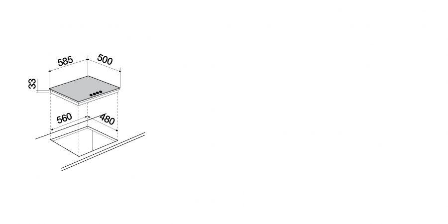 Disegno tecnico Primus PC60 AVG ANTRACITE  Cod. STP64H51