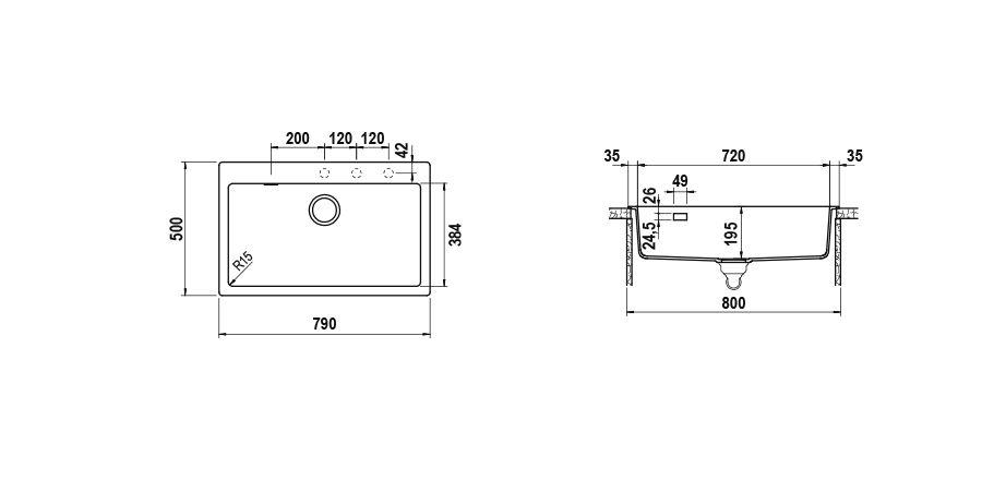 Disegno tecnico Signus N100XL NERO  Cod. SIGN100A84