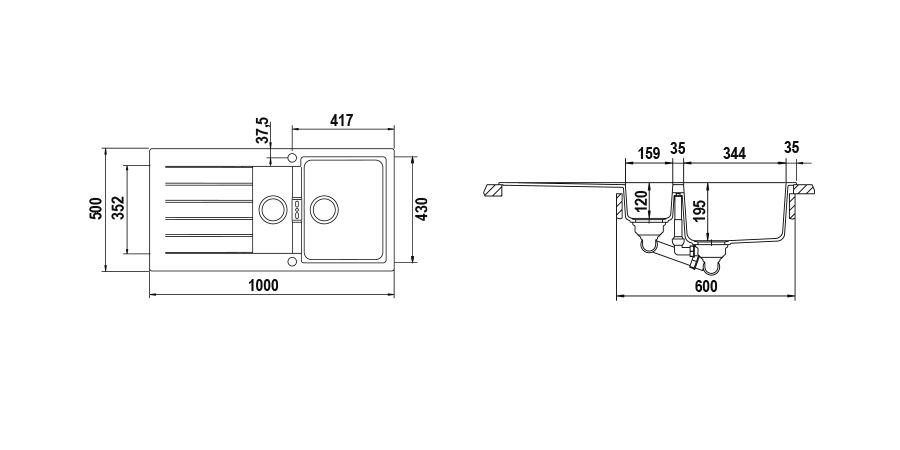 Disegno tecnico Signus D150 BIANCO PURO   Cod. SIGD150A99