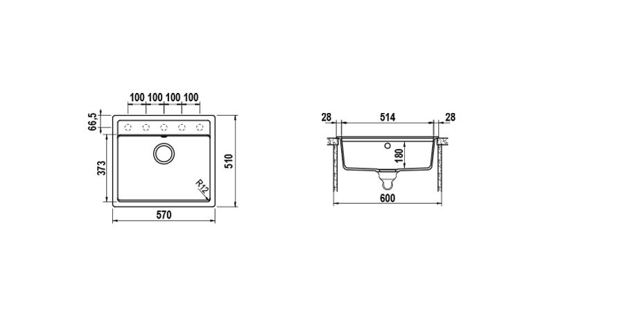 Disegno tecnico Vero N100 BIANCO PURO   Cod. VEON100A99