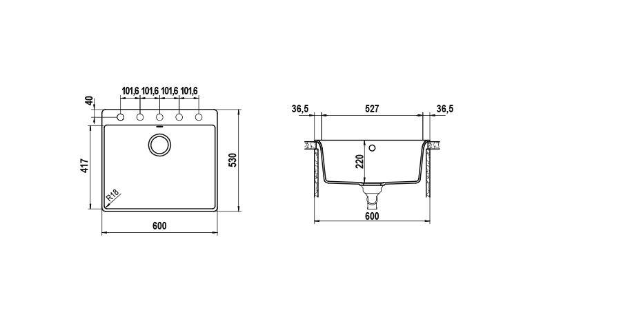 Disegno tecnico Vero N100L BIANCO PURO   Cod. VEON100LA99
