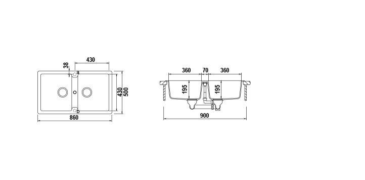 Disegno tecnico Primus N200E ANTRACITE  Cod. PRIN200EAP51