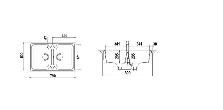 Disegno tecnico Lithos N200S ASPHALT  Cod. LITN200SA43N