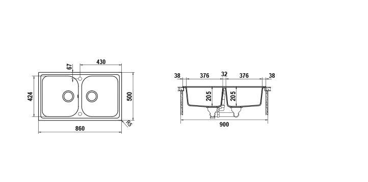 Disegno tecnico Lithos N200 MOCHA 63 Cod. LITN200A63N