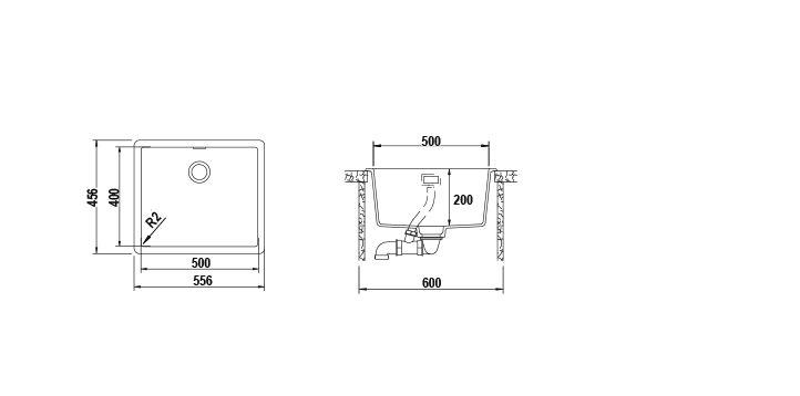 Disegno tecnico Vasche CARBON N100L CARBONIO LUCIDO  Cod. CARN100LG