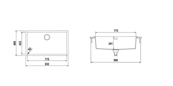 Disegno tecnico Vasche CARBON N100 XL CARBONIO LUCIDO  Cod. CARN100XLG