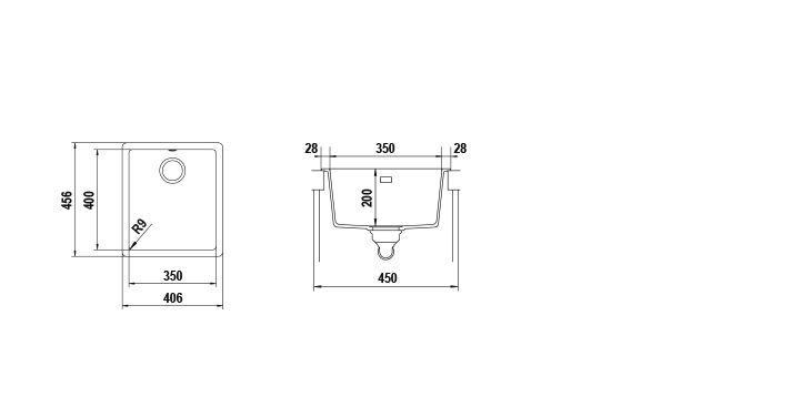 Disegno tecnico Vasche GALAXY N100S BIANCO PURO   Cod. GALN100SA99