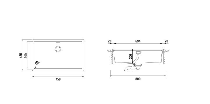 Disegno tecnico Vasche GALAXY N100XL NERO PURO  Cod. GALN100XLA84