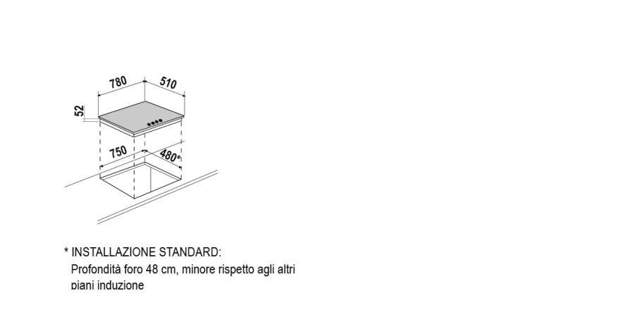 Disegno tecnico Induzione PC78 BRIDGE NERO OPACO  Cod. STIB84BKE