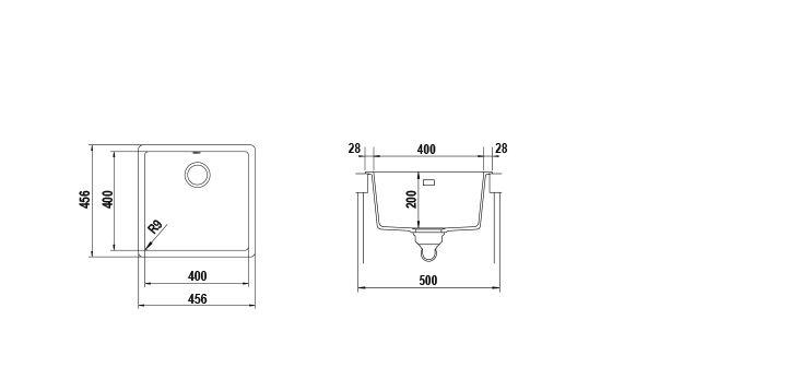 Disegno tecnico Vasche BROOKLYN N100 NERO ASSOLUTO 13 Cod. BYKN100A13