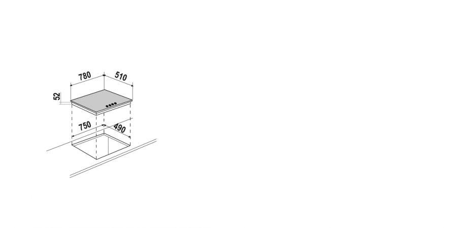 Disegno tecnico Induzione PC78 BRIDGE BIANCO OPACO  Cod. STIB84WHM
