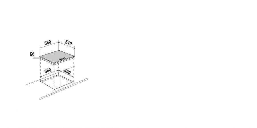 Disegno tecnico Induzione PC60 BRIDGE BIANCO OPACO  Cod. STIB64WHM