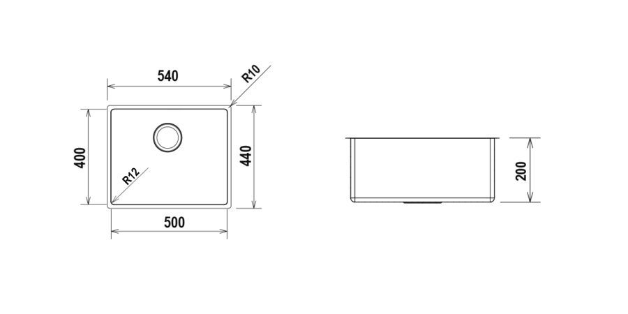 Disegno tecnico TECHNICK FN100L - R12 INOX  Cod. TECFN100L