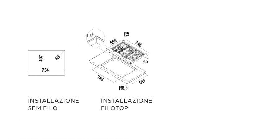 Disegno tecnico Flat PC75 AVG INOX  Cod. STF855HIX