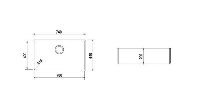 Disegno tecnico TECHNICK SN100XL - R12 INOX  Cod. TECSN100XLN