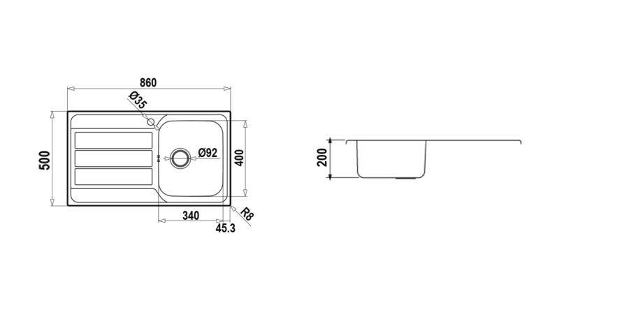 Disegno tecnico MASTER D100 DX INOX  Cod. MASTD100DX