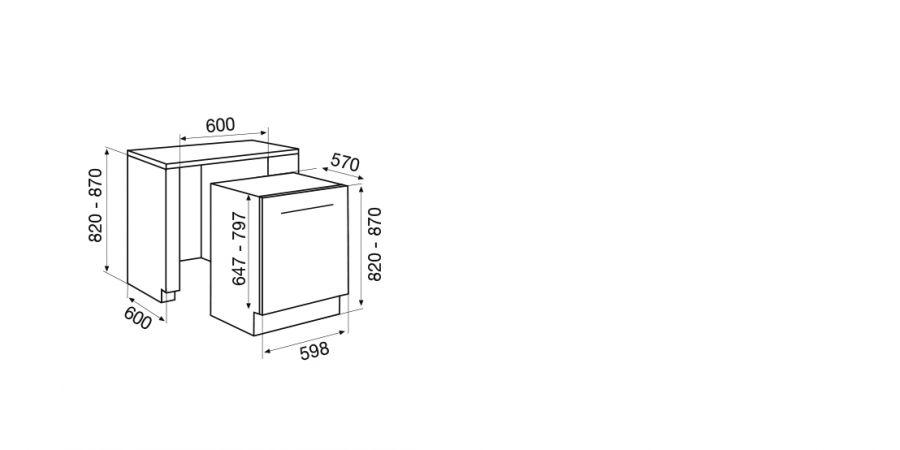 Disegno tecnico Lavastoviglie da Incasso SDI955TS2 Cod. SDI955TS2
