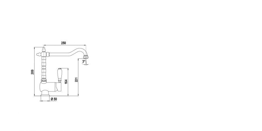 Disegno tecnico NEW AQUASTYLE CROMATO  Cod. SXSTY80