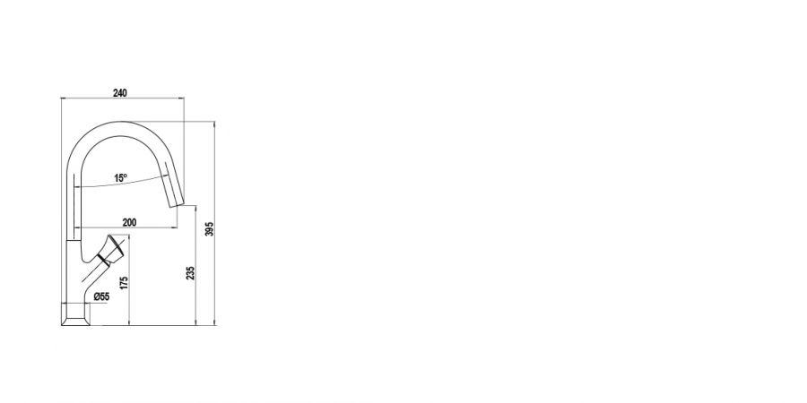 Disegno tecnico AQUAPRIME CROMATO  Cod. SXPRIM80