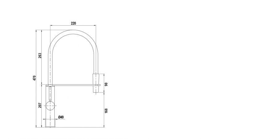Disegno tecnico AQUASHAKE NERO  Cod. SXSHAK84