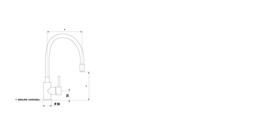 Disegno tecnico AQUASNAKE CROMATO  Cod. SXSNAKE80