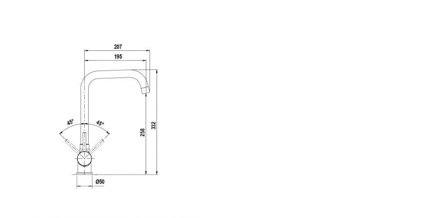 Disegno tecnico AQUATIME ANTRACITE  Cod. SXTIME51