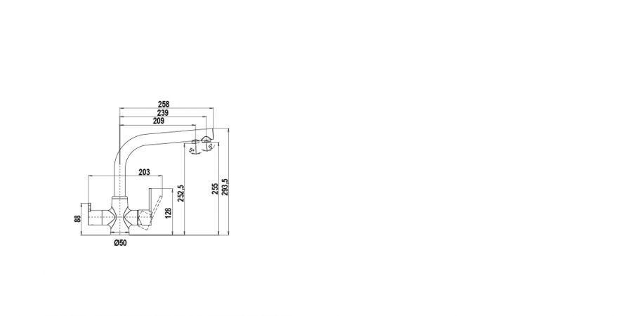 Disegno tecnico AQUAPURA ALTO LINEA CROMATO  Cod. SXPURL80