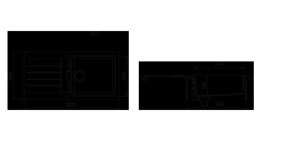 Disegno tecnico Signus D100L BIANCO PURO   Cod. SIGD100LA99