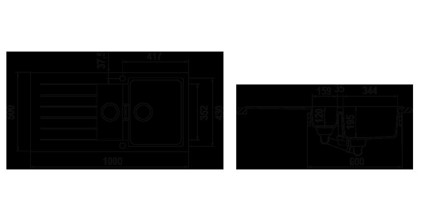 Disegno tecnico Primus D150 GRIGIO TORTORA  Cod. PRID150AP42