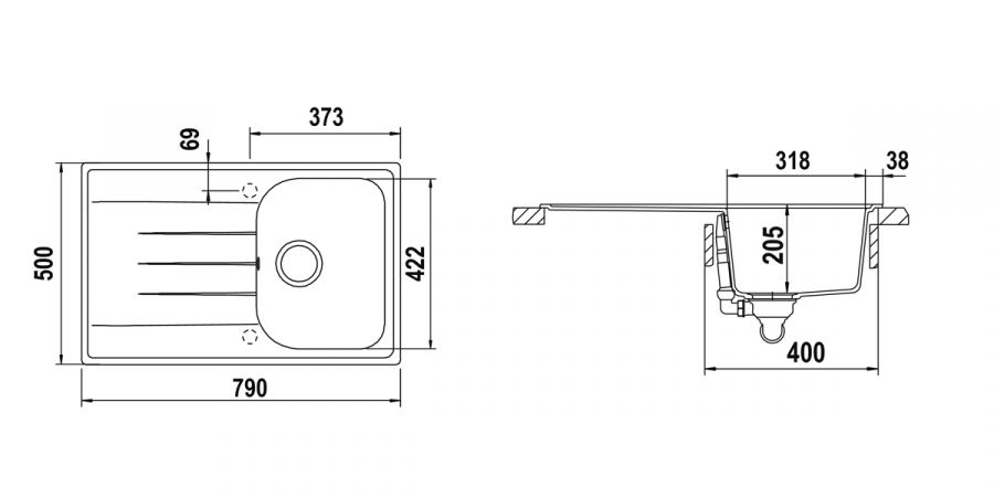 Disegno tecnico Lithos D100S ASPHALT  Cod. LITD100SA43
