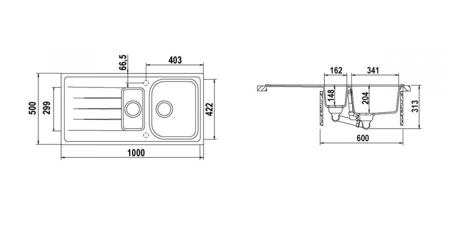 Disegno tecnico Lithos D150 AVENA  Cod. LITD150A58N
