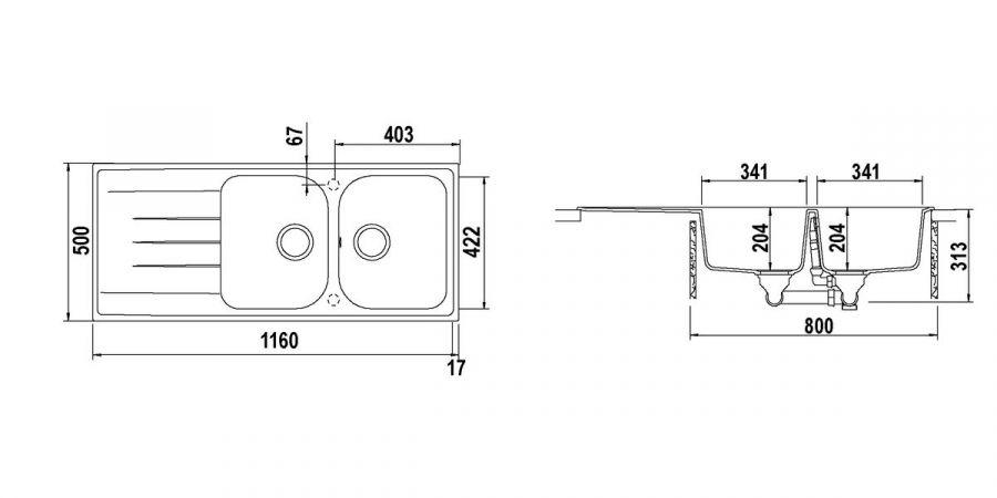 Disegno tecnico Lithos D200 MOCHA 63 Cod. LITD200A63N