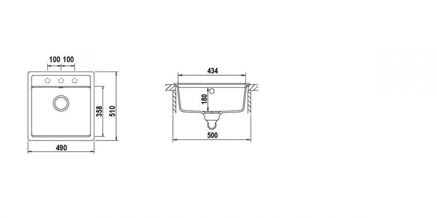 Disegno tecnico Nemo N100S ANTRACITE  Cod. NEMN100S51