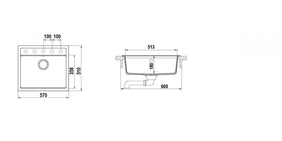 Disegno tecnico Nemo N100 ANTRACITE  Cod. NEMN100051