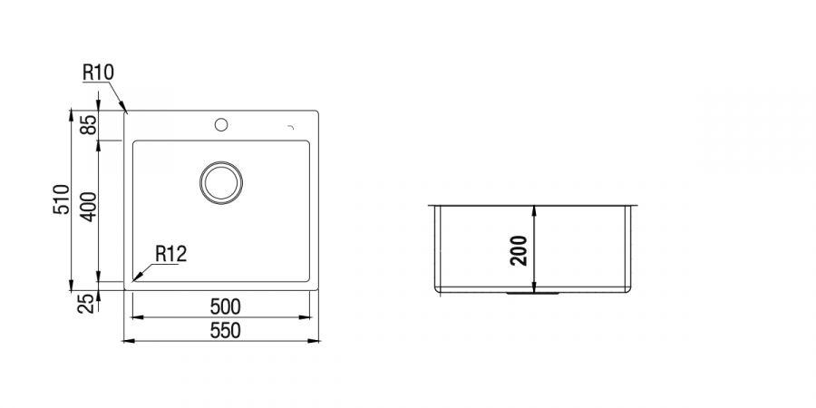 Disegno tecnico TECHNICK PLUS N100L INOX  Cod. TECPFN100L