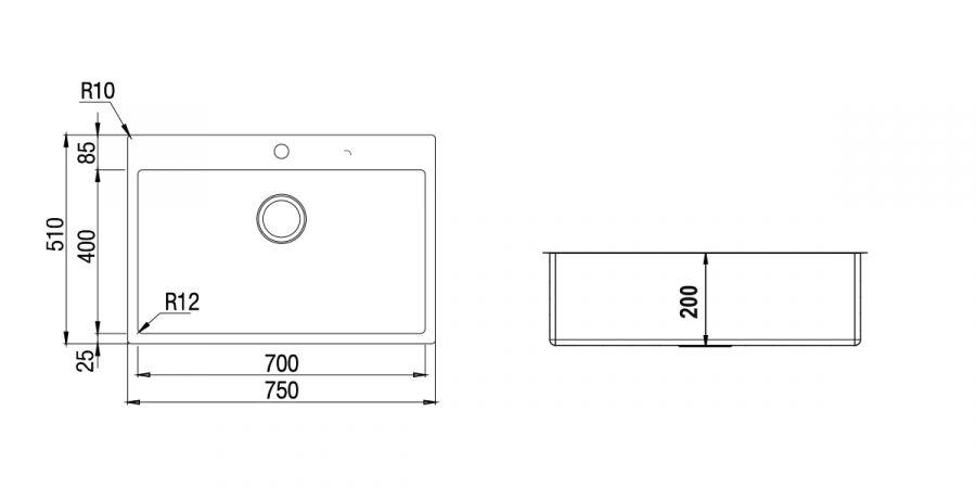 Disegno tecnico TECHNICK PLUS N100 XL INOX  Cod. TECPFN100XL