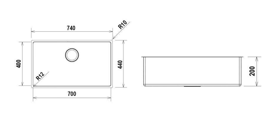 Disegno tecnico TECHNICK FN100XL - R12 INOX  Cod. TECFN100XLN