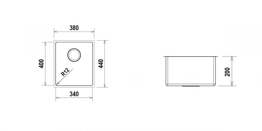 Disegno tecnico TECHNICK SN100S - R12 INOX  Cod. TECSN100SN