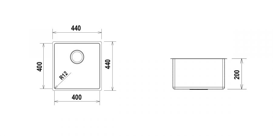 Disegno tecnico TECHNICK SN100 - R12 INOX  Cod. TECSN100N