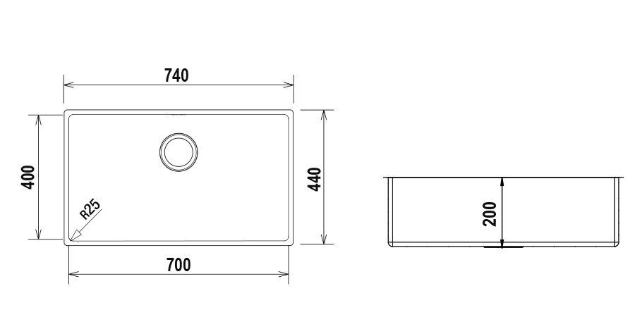 Disegno tecnico MONO SN100XL - R25 INOX  Cod. MONSN100XL