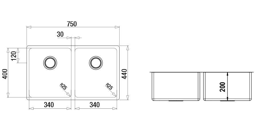 Disegno tecnico MONO SN200 - R25 INOX  Cod. MONSN200