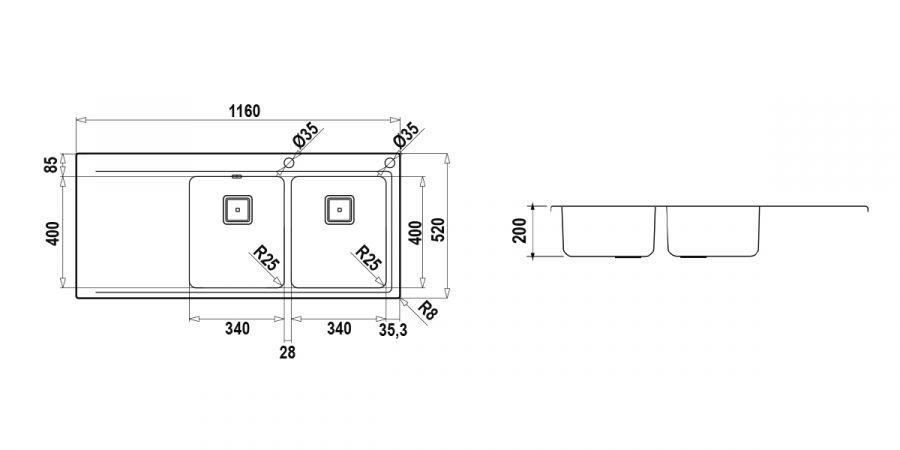 Disegno tecnico Domus D200 DX INOX  Cod. DOMD200DX