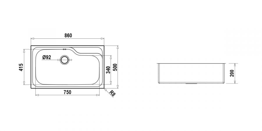 Disegno tecnico CLASSIC N100XL INOX  Cod. CLAN100L