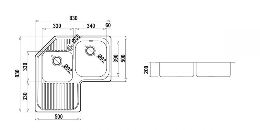 Disegno tecnico CLASSIC C200AS SX INOX  Cod. CLAC200SX