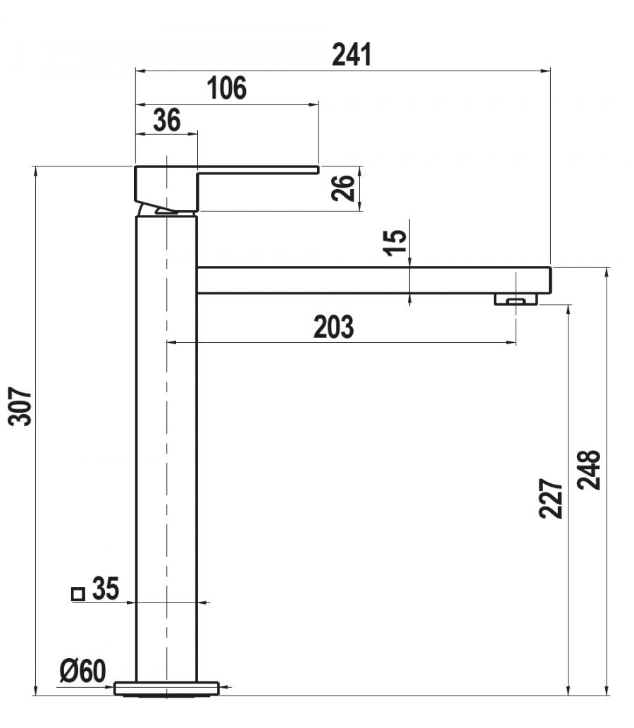 Disegno tecnico NEW AQUASKY CROMATO  Cod. SXSKYN80