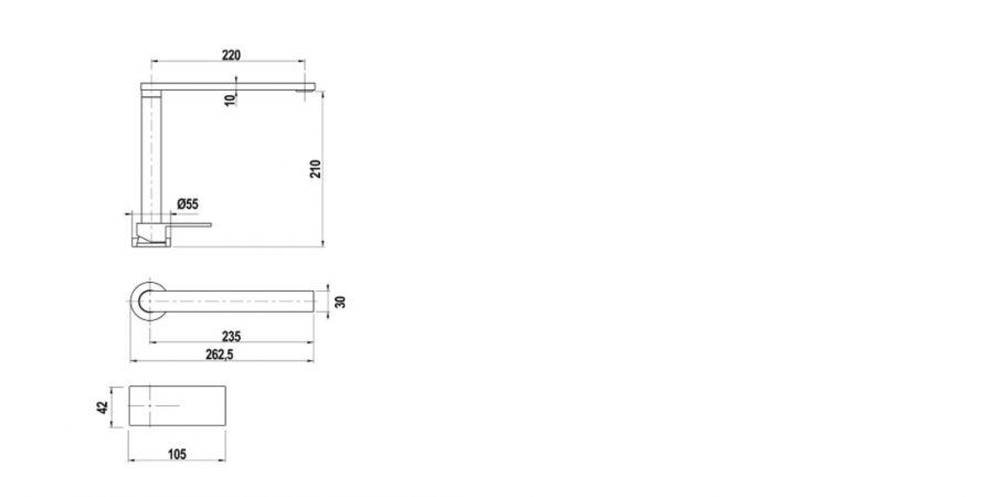 Disegno tecnico AQUALIFT CROMATO  Cod. SXLIFT80