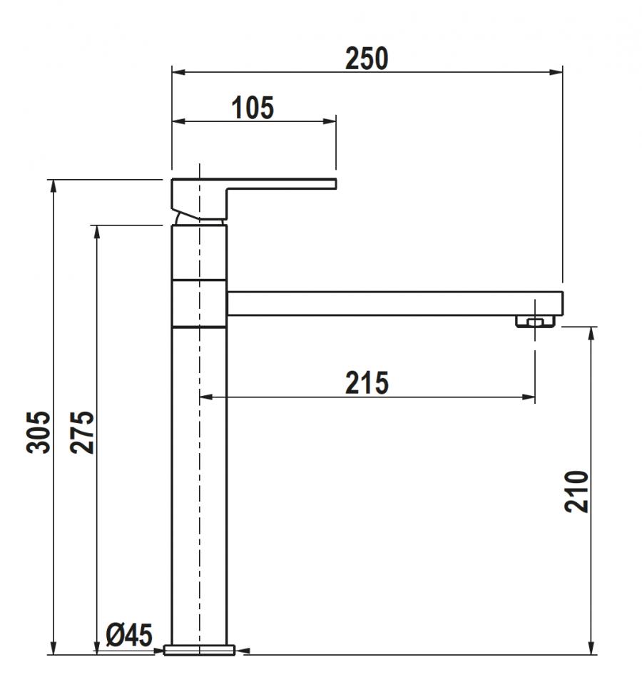 Disegno tecnico AQUAFRAME NERO PURO  Cod. SXFRAM84