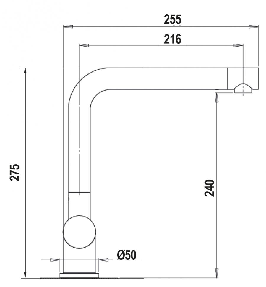 Disegno tecnico AQUAINOX ACCIAIO INOX MASSICCIO  Cod. SXINOXIX